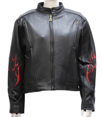 Womens Leather Motorcycle Jacket with Flames & Z/O Lining