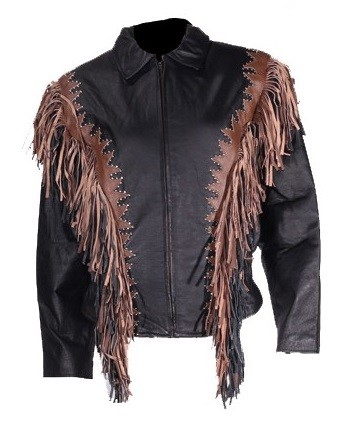 Womens Leather Jacket with Studs and Fringes