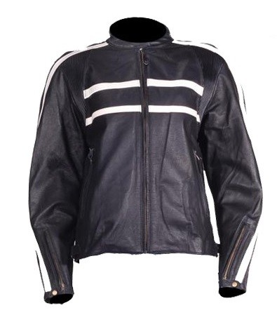 Women's Vented Cream Striped Leather Motorcycle Jacket