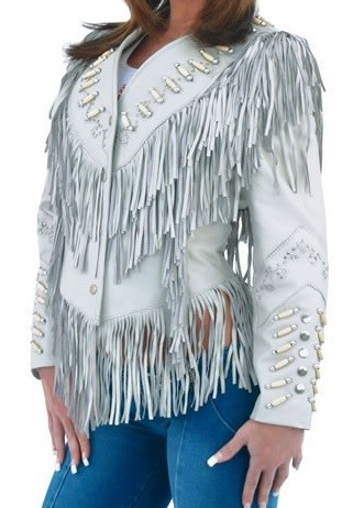 Womens Off White Leather Jacket With Fringes