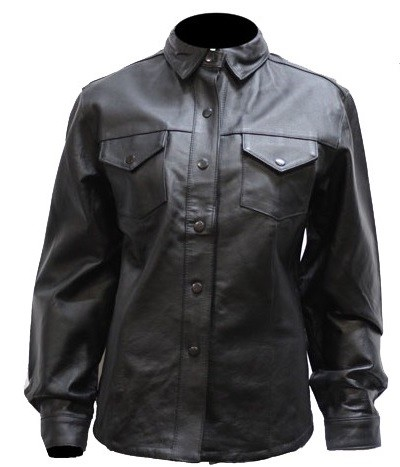 Womens Black Leather Shirt with Snaps and Lining