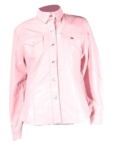 Womens Pink Leather Shirt with Snaps and Lining