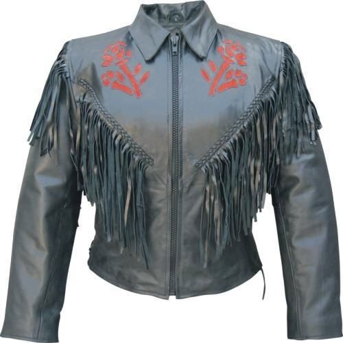 Women's Red Rose Leather Motorcycle Jacket with Fringe