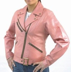 Womens Pink Leather Motorcycle Jacket with Zip Out Lining