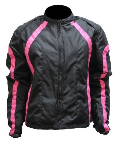 Women's Vented Textile Black & Pink Motorcycle Jacket