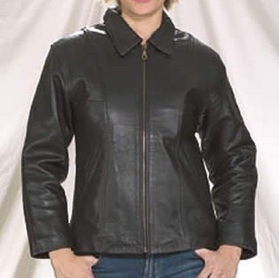 Women's Leather Jacket with Front Zipper & Zip Out Lining