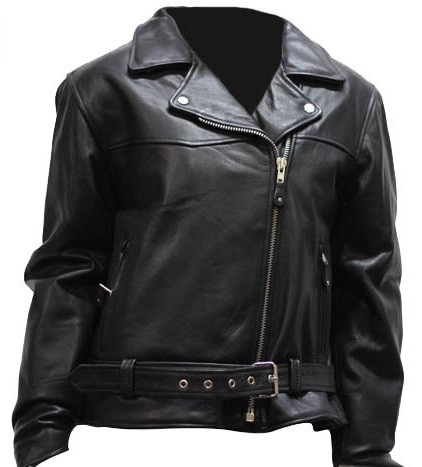 Womens Heavy Duty Leather Motorcycle Jacket, Zip Out Lining