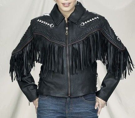 Womens Fringe Leather Motorcycle Jacket With Arrows