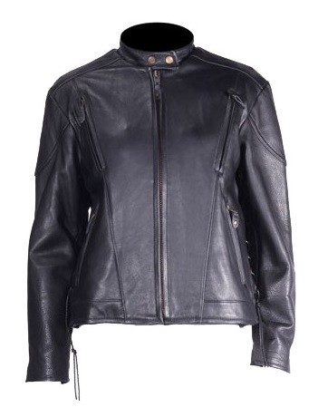 Womens Sidelace Vented Leather Motorcycle Jacket