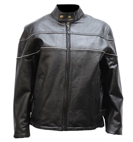 Womens Vented Leather Jacket with Reflective Pipng