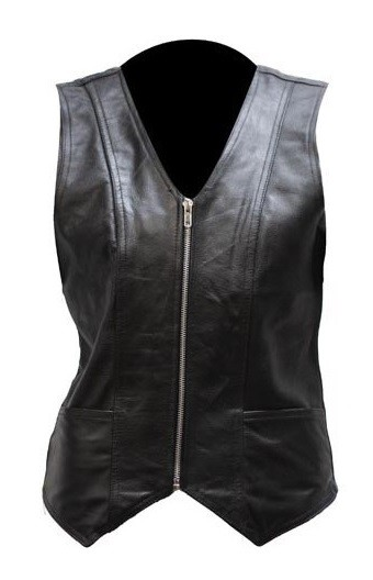 Womens Soft Leather Vest with Gun Pockets