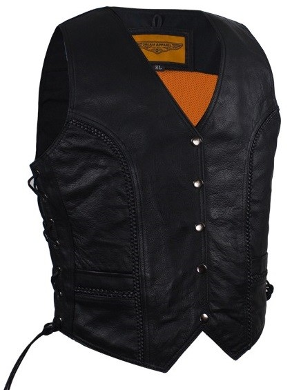 Womens Long Cut Motorcycle Vest With Braid