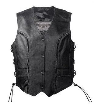 Womens Side Lace Leather Vest With Front Braid Accent