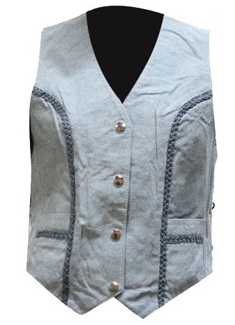 Womens Blue Denim Style Leather Vest