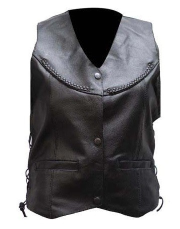 Womens Braided Leather Vest with Gun Pockets