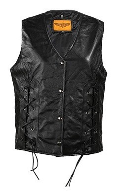 Womens Lace Leather Vest with Gun Pockets