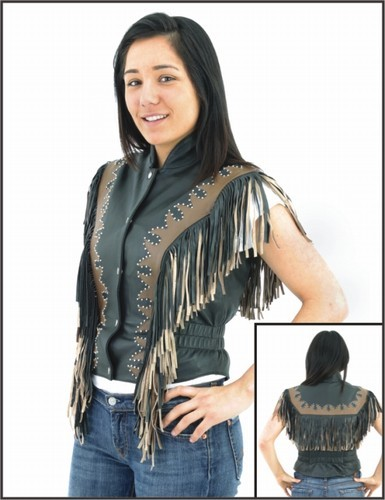 Womens Black & Brown Vest w/ Beads, Bone, Braid, Fringes