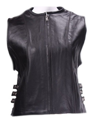 Womens Tactical Leather Vest With Side Buckles