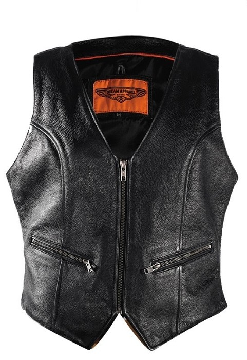 Womens Leather Biker Vest With Gun Pockets
