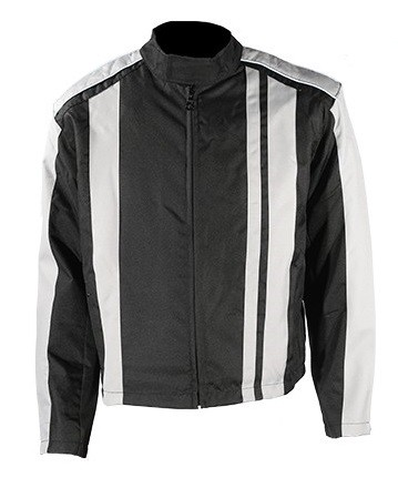 Mens Black and Gray Textile Motorcycle Jacket