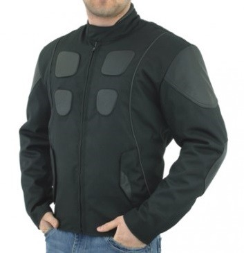Mens Leather Textile Motorcycle Jacket with Zip Out Lining