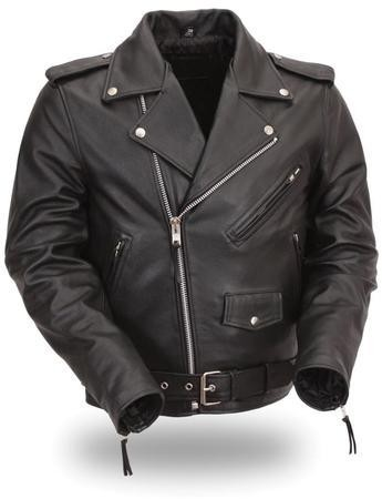 Men's Leather Motorcycle Jacket, Sidelaces, Full Belt, Z/O Liner
