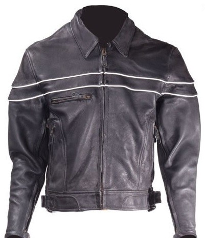 Men's Leather Motorcycle Jacket with Reflective Piping