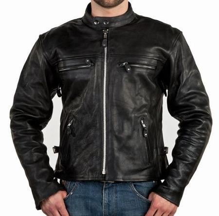 Men's Leather Motorcycle Jacket with Side Zippers