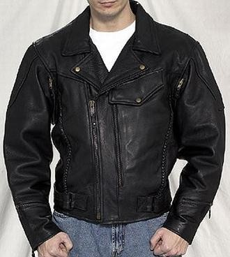 Pistol Pete vented braided leather motorcycle jacket with air vents and zip out lining