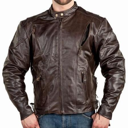 Mens Vented Brown Leather Motorcycle Jacket, Z/O Lining