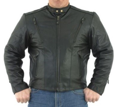 Mens Motorcycle Jacket with Airvents, Z/O Lining, Gathered Sides