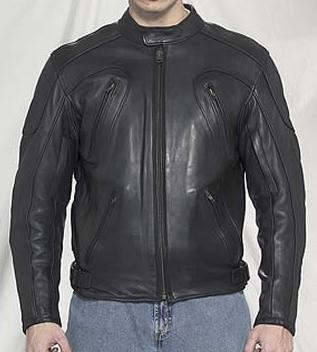 Men's Vented Leather Motorcycle Jacket with Armor