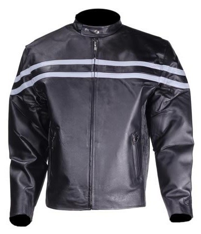 Mens Vented Leather Motorcycle Jacket with Gray Stripes