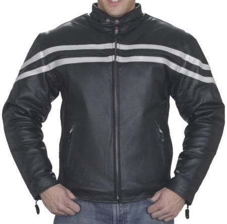 Mens Vented Leather Motorcycle Jacket with Silver Racing Stripes