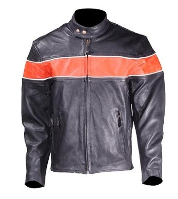 Men's Vented Leather Motorcycle Jacket with Orange Stripe