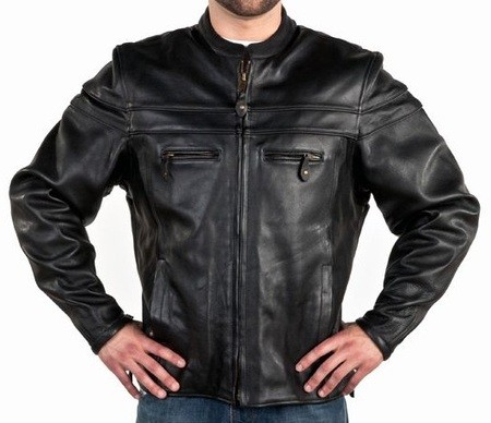 Men's Vented Leather Motorcycle Jacket with Double Piping