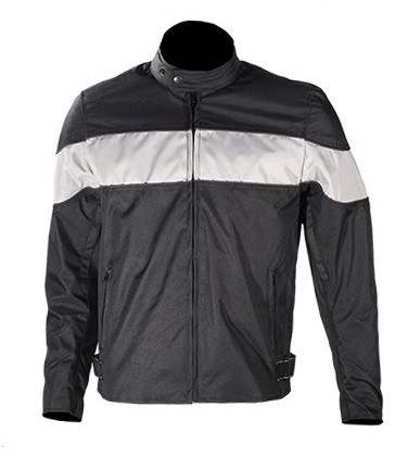 Mens Textile Motorcycle Jacket with Wide Gray Stripe
