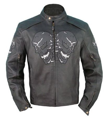 Men's Vented Leather Motorcycle Jacket with Reflective Skulls