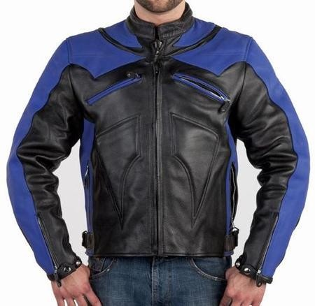 Men's Armored Vented Black & Blue Motorcycle Jacket