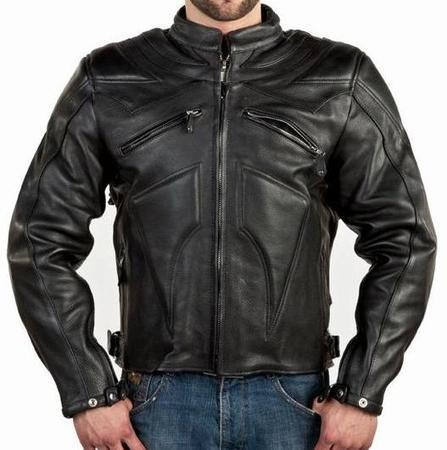 Mens Black Armored Vented Leather Motorcycle Jacket