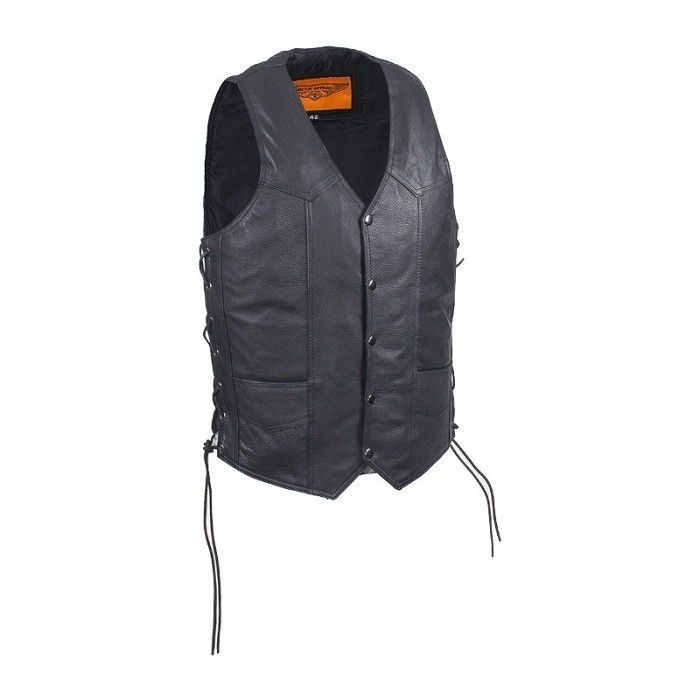 Mens Casual Motorcycle Leather Vest Side Laces
