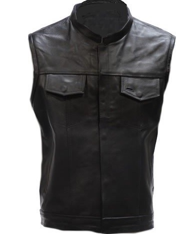 Mens Concealed Carry Leather Vest with Gun Pockets