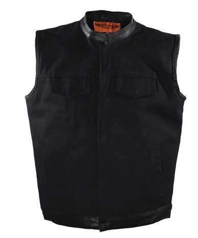 Black Canvas Motorcycle Vest with Gun Pockets
