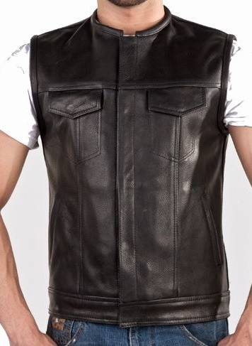 Men's Leather Motorcycle Vest with Front Pockets
