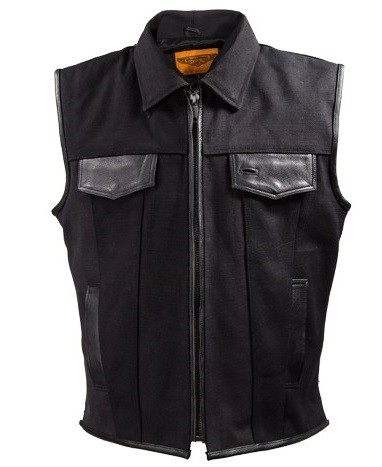 Mens Textile Motorcycle Vest with Gun Pockets