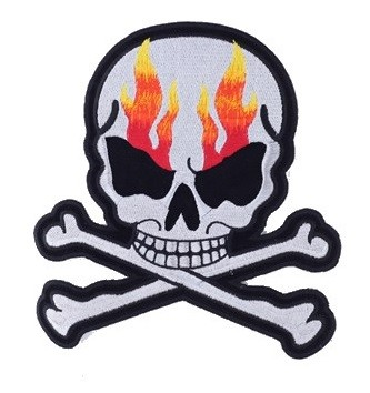 Silver Skull Crossbones Motorcycle Jacket Patch