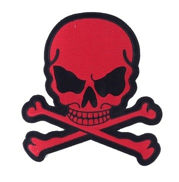 Red Skull and Crossbones Motorcycle Jacket Patch