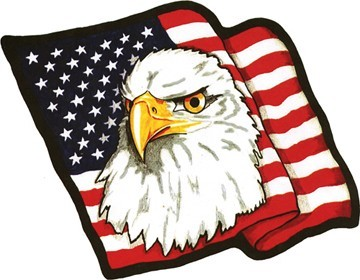 American Flag with Eagle Head Motorcycle Patch