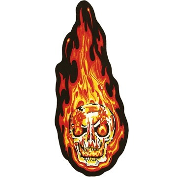 Orange Flaming Skull Motorcycle Jacket Patch