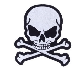 Small Gray Skull and Crossbones Motorcycle Jacket Patch